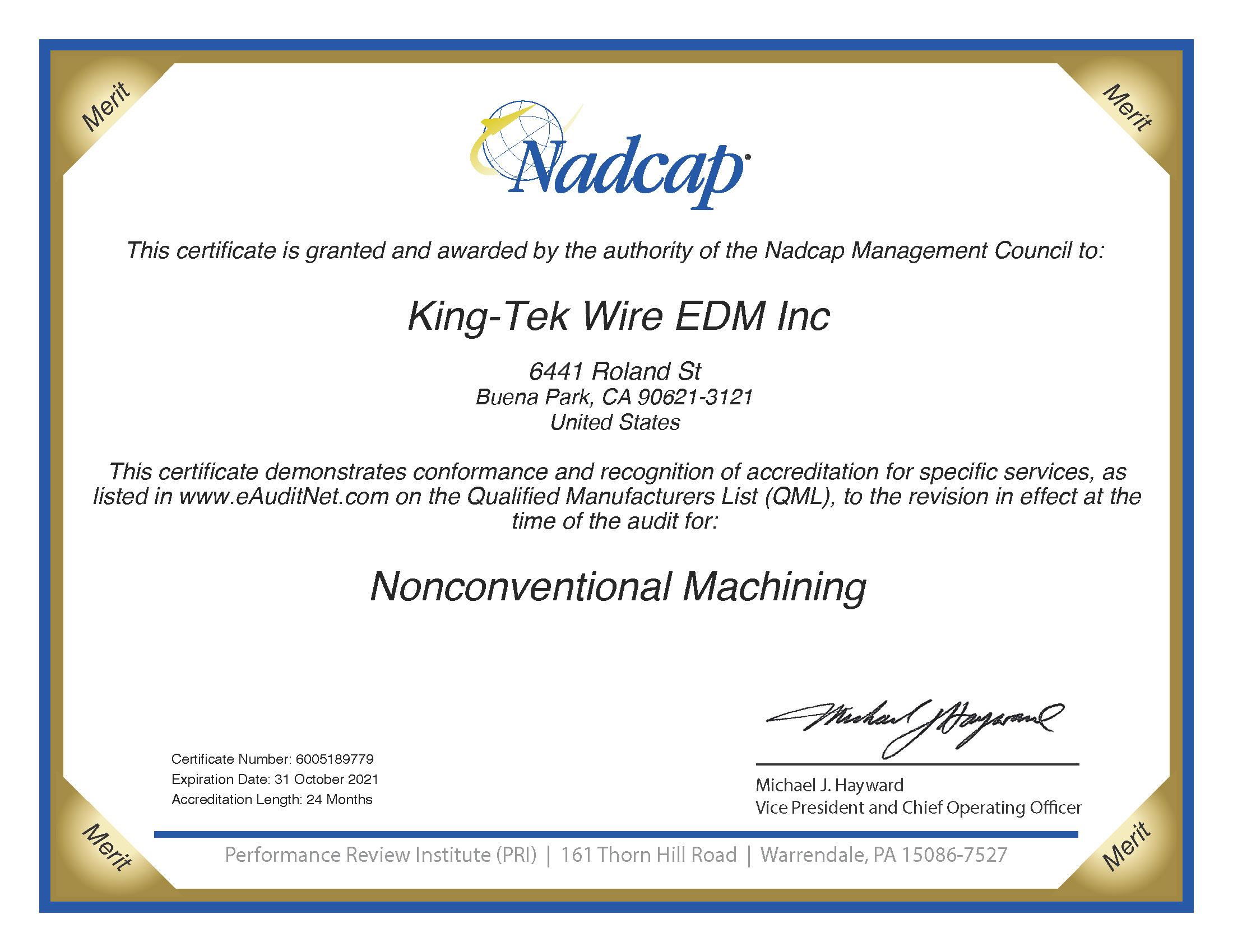 Nadcap Certification KingTek